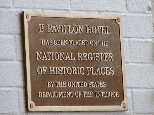 National Register of Historic Places Plaque at LePavillon Hotel